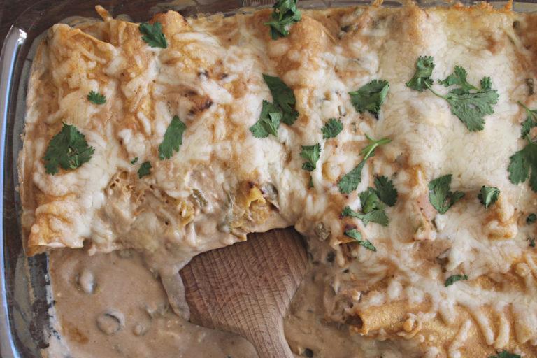 Cheesy Sour Cream Chicken Enchiladas