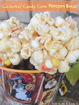 Caramel Candy Corn Popcorn Balls