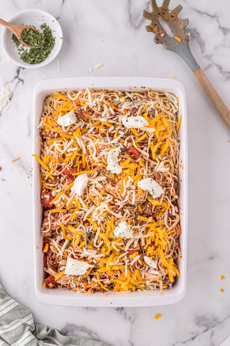 The Absolute BEST Baked Spaghetti