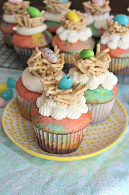 Tie Dye Easter Cupcakes