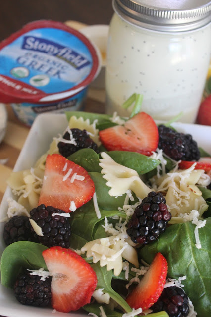 Summer Time Spinach Salad with a Creamy Citrus Poppyseed Dressing