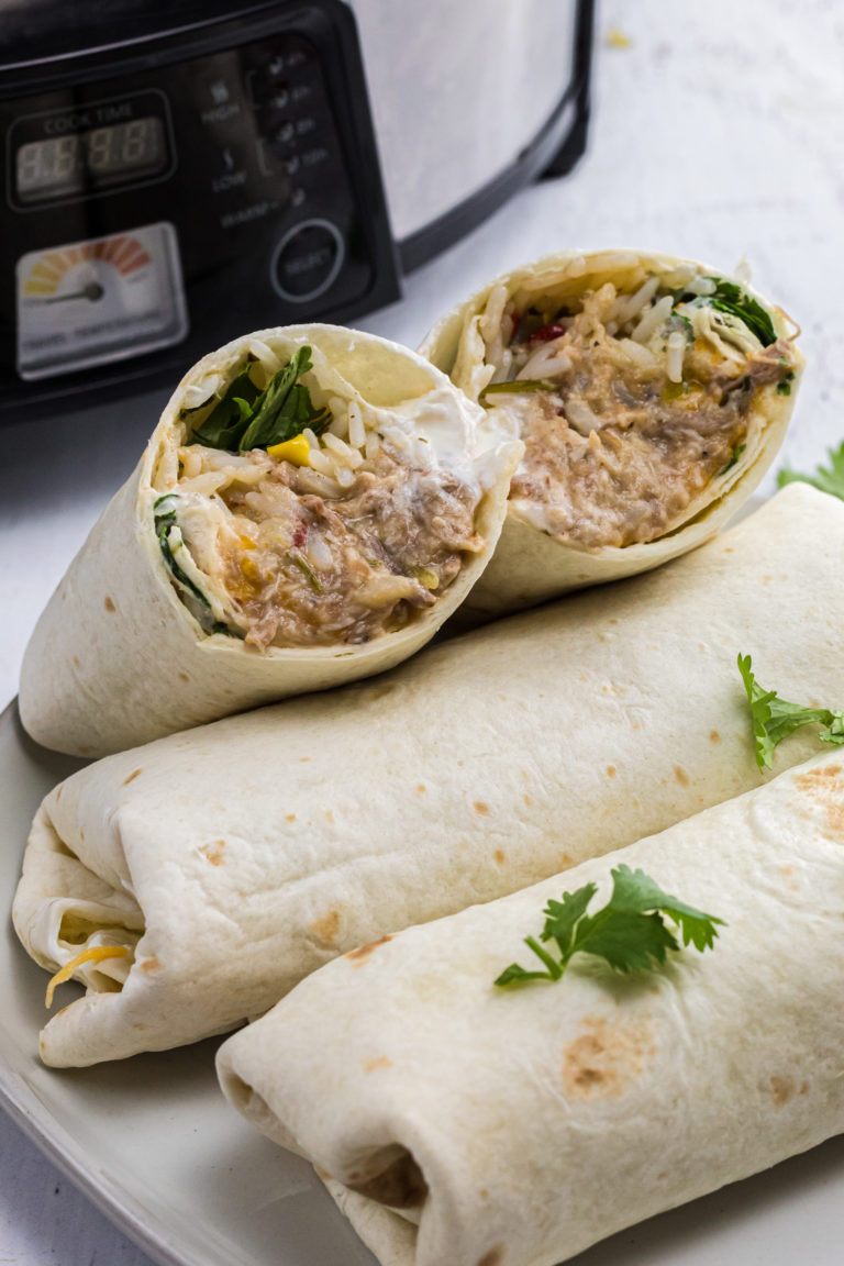 The BEST Crockpot Green Chile Burritos