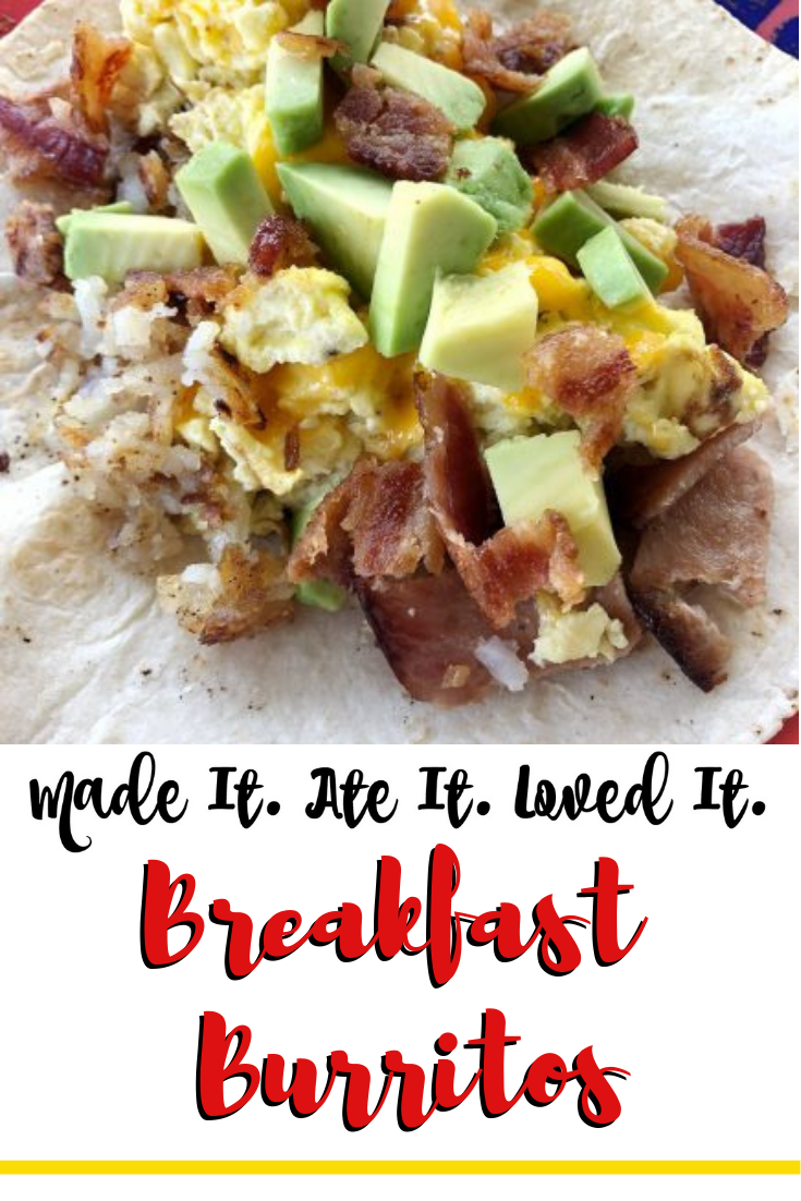 These easy breakfast burritos are a fast recipes for a quick and filling breakfast for your family.  #madeitiateitlovedit #breakfastfood #easyrecipe