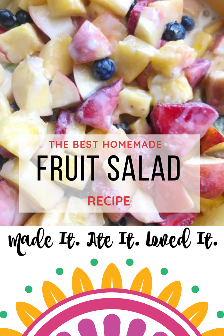 This is the best creamy fruit salad recipe. Using ingredients you have right in your house! #fruitsalad #homemadefood #madeitateitlovedit