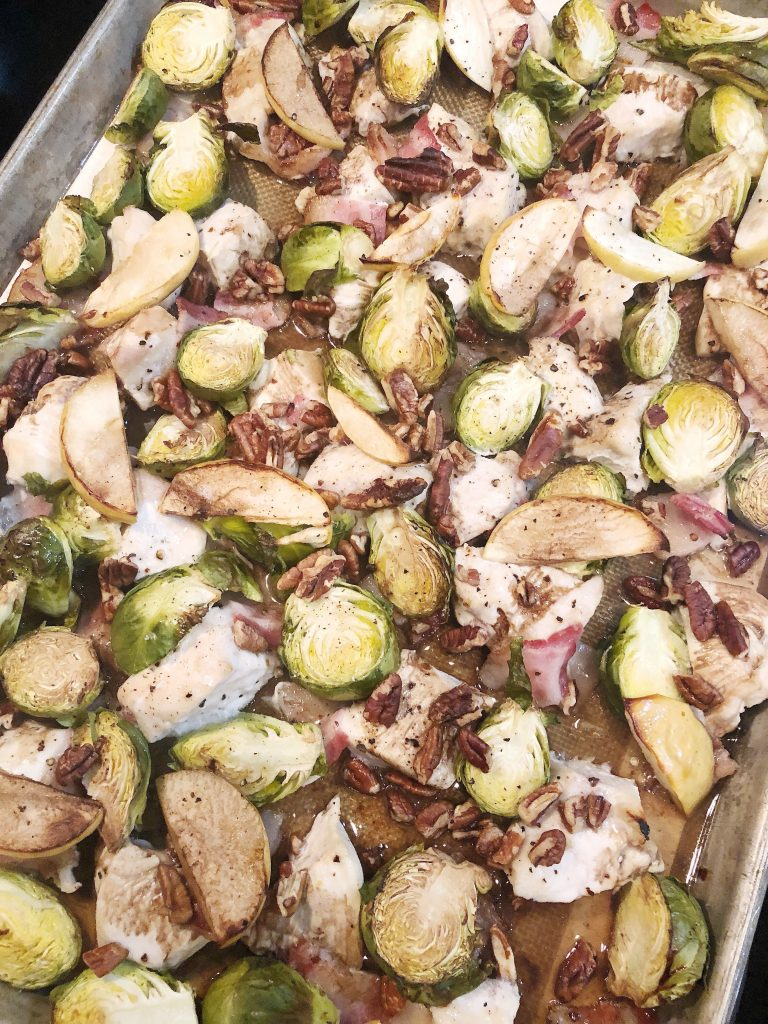Sheet Pan Balsamic Chicken with Bacon and Brussel Sprouts