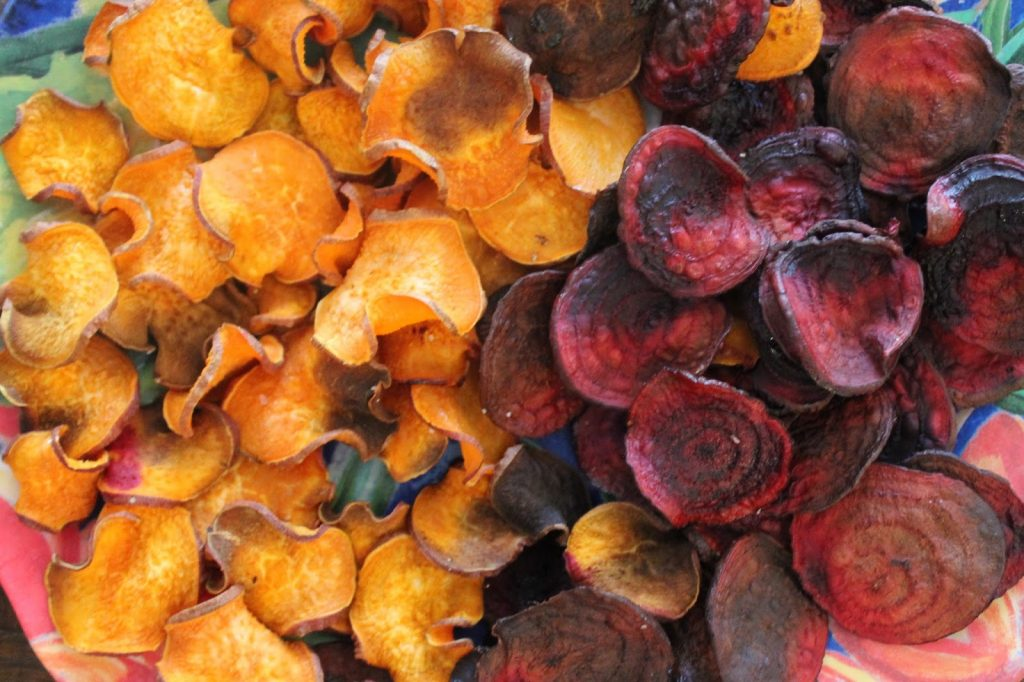 sweet potato chips and beet chips