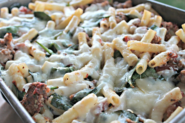 Sausage and Spinach Pesto Baked Ziti