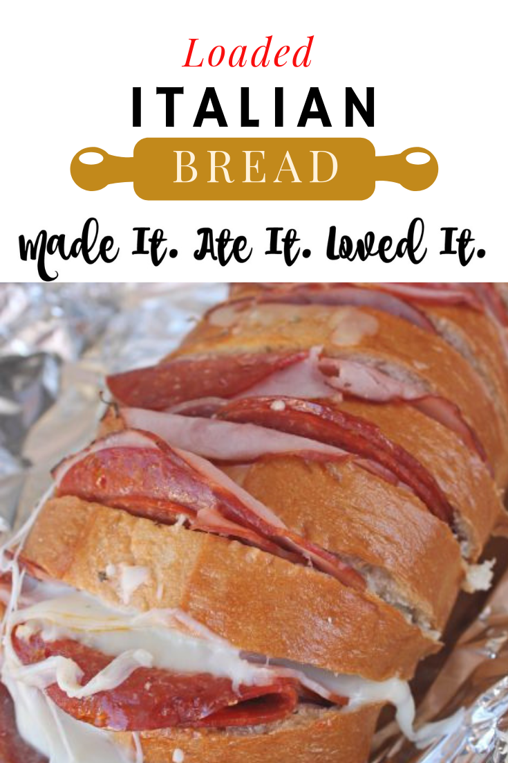 Looking for the perfect Super Bowl Appetizer? Or a sandwich type thing to serve with all the other Super Bowl Appetizers? Well this loaded Italian bread is your answer! #appetizer #superbowl #appetizerrecipe #madeitateitlovedit