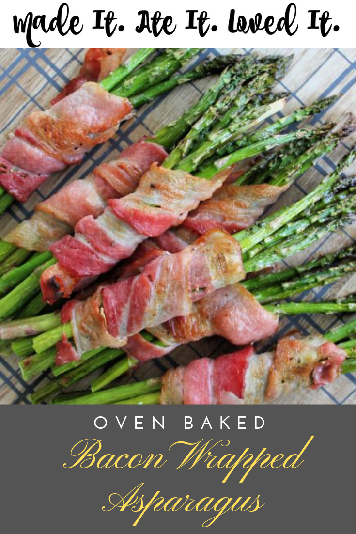 The perfect side dish for Valentine's Day!  Here is a great and simple bacon wrapped asparagus in the oven recipe. #appetizerrecipes #partyfood #madeitateitlovedit #deliciousrecipes