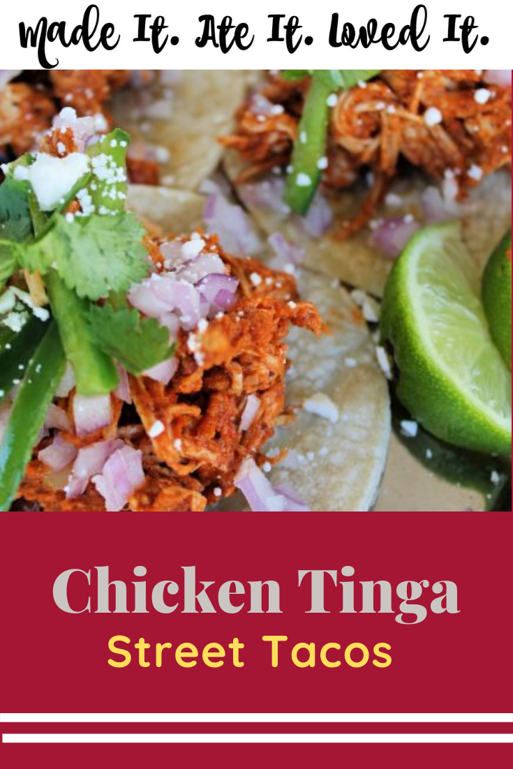 Chicken Tinga Street Tacos Here is the perfect street tacos recipe to make right at home. #chickenrecipe #tacos #mexicanfood #deliciousrecipes #madeitateitlovedit