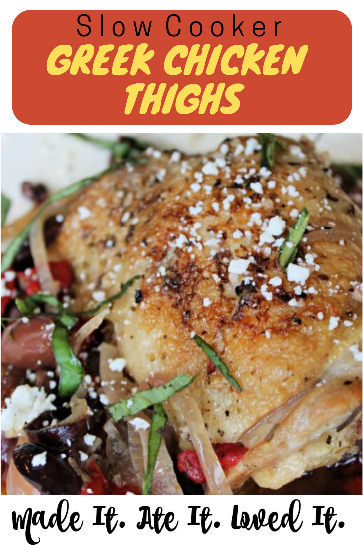 Slow Cooker Greek Chicken Thighs Here is the best greek chicken recipe.  #chickenrecipes #crockpotrecipes #madeitateitlovedit