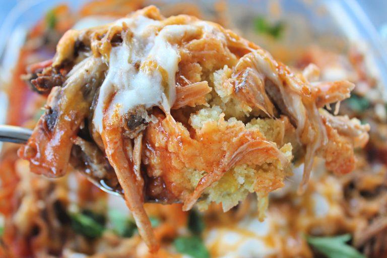 Crockpot Carnita Tamale Bake