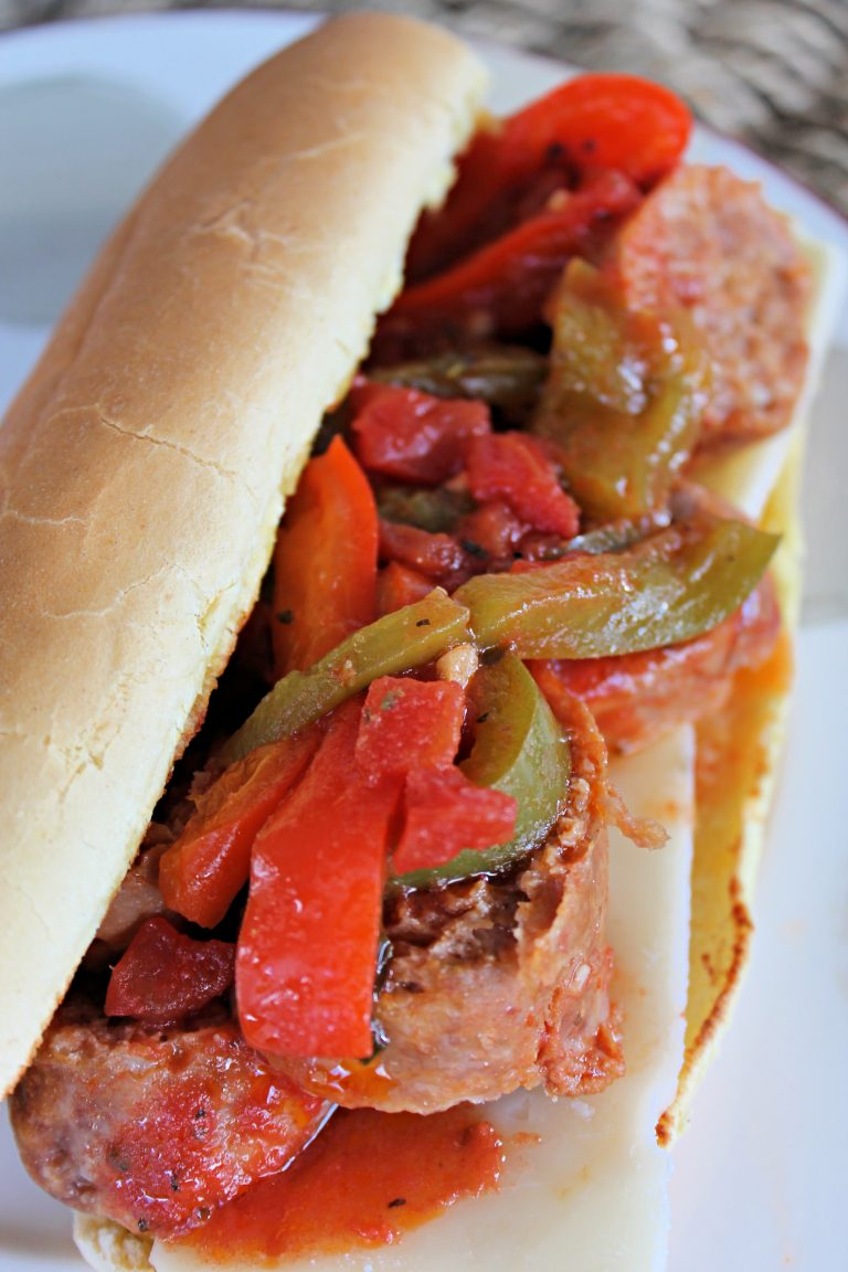 Slow Cooker Italian Sausage and Pepper Sandwich