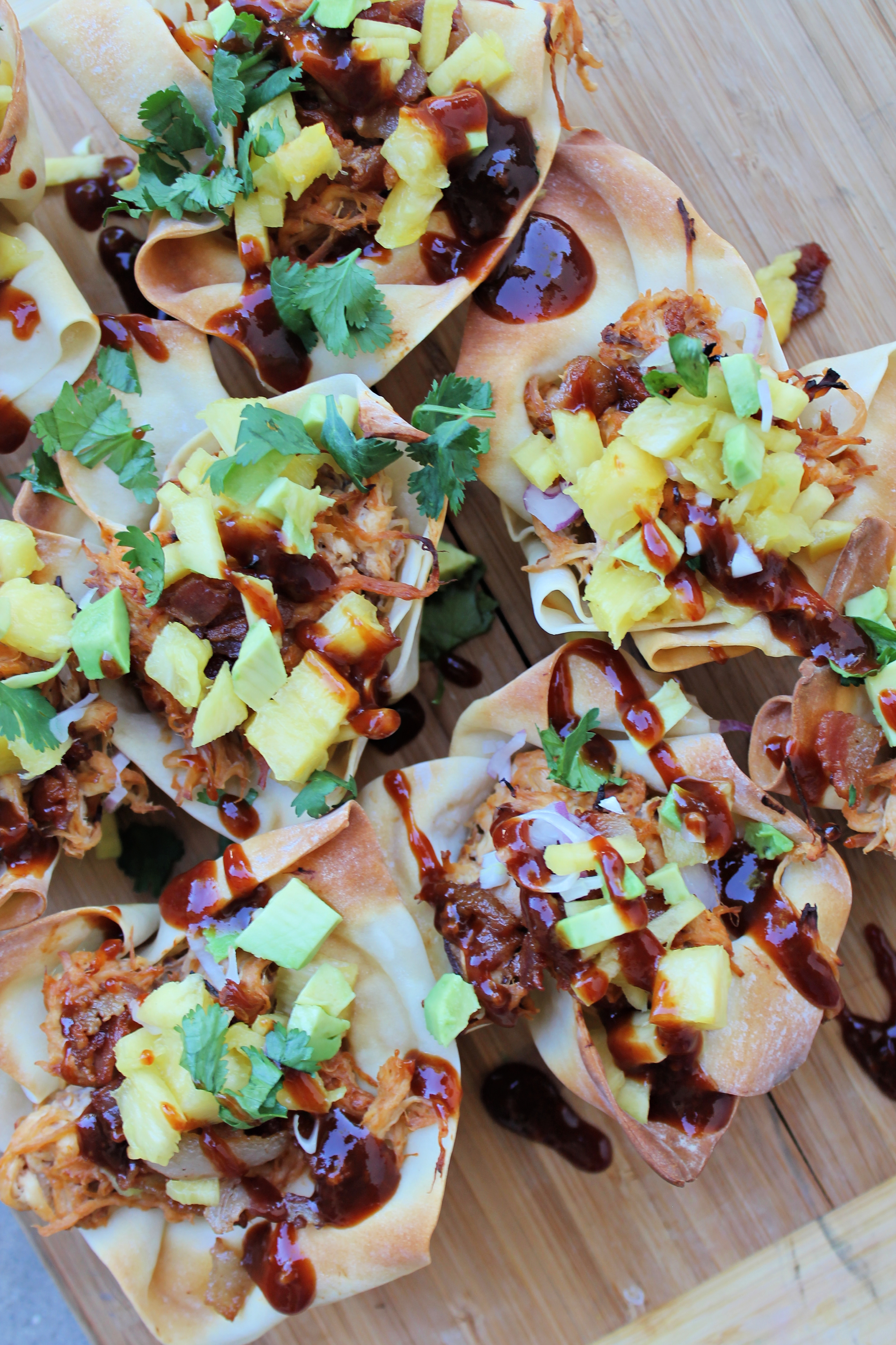 Loaded BBQ Chicken Wontons Cups