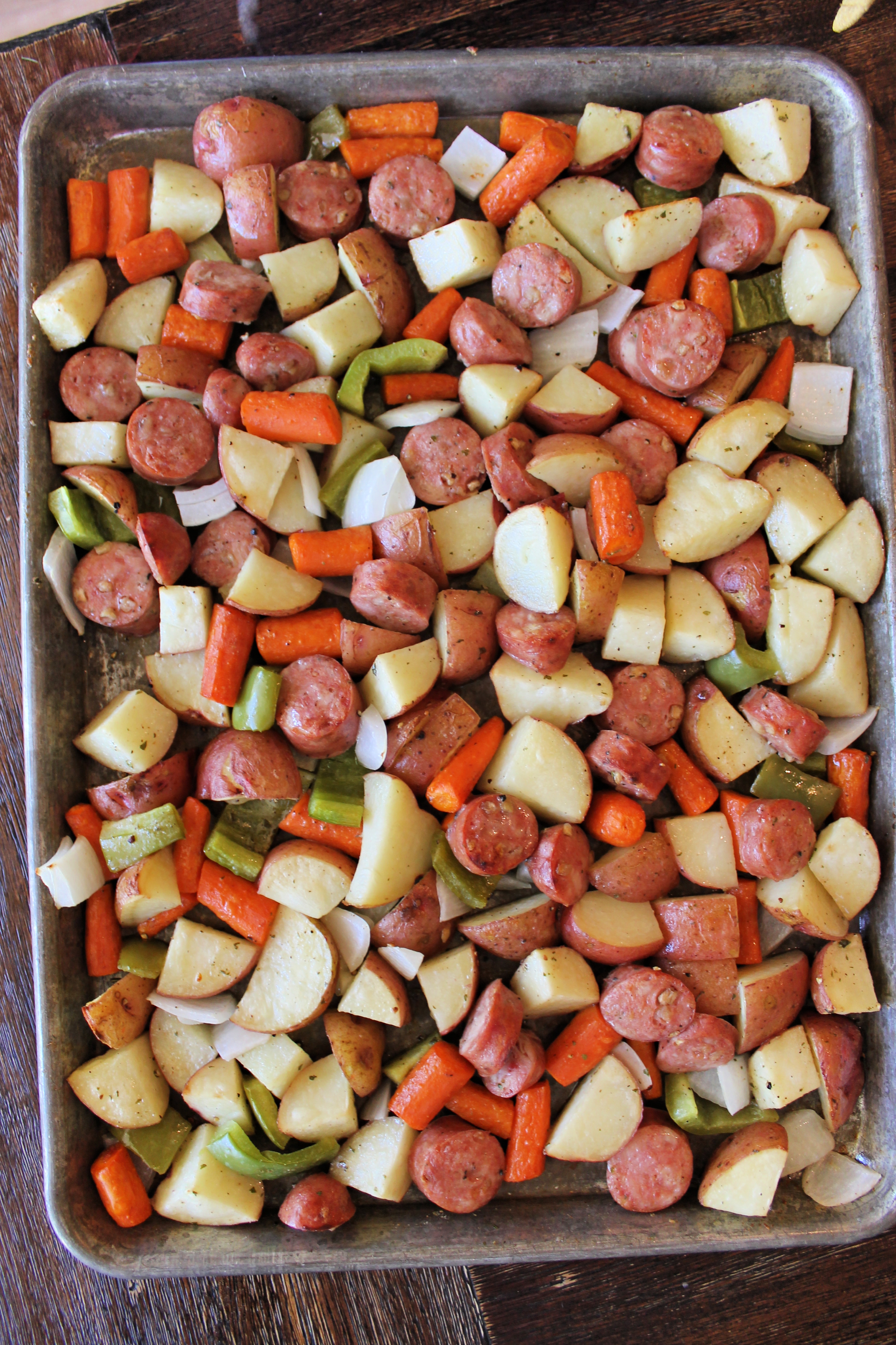 Sheet Pan Dinner: Sausage and Vegetables!