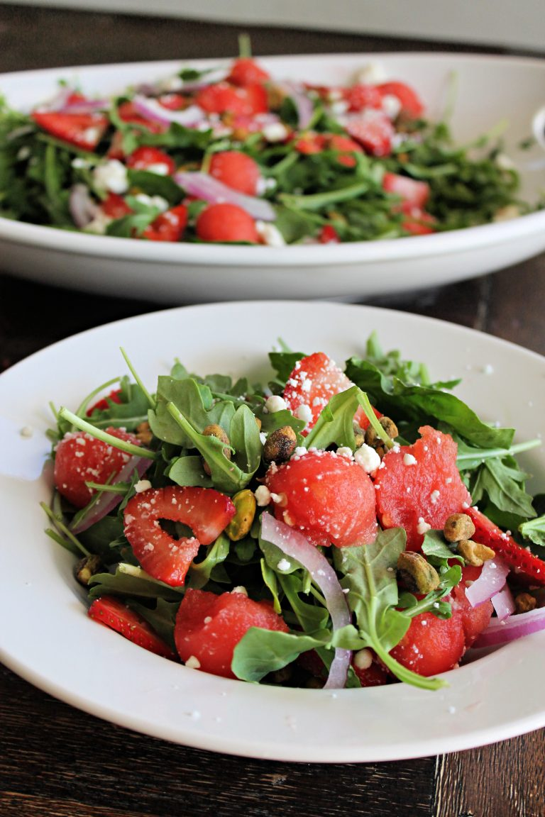 Strawberry, Watermelon and Arugula Salad