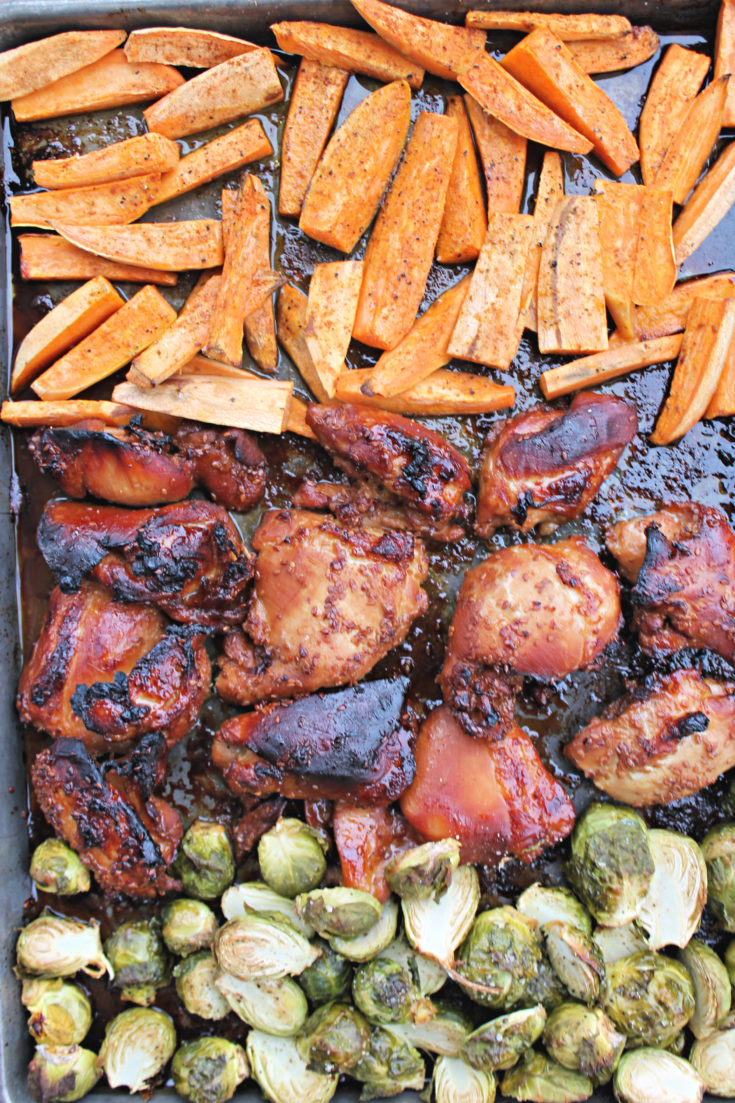 Sheet Pan BBQ Chicken with sweet potatoes and brussels sprouts
