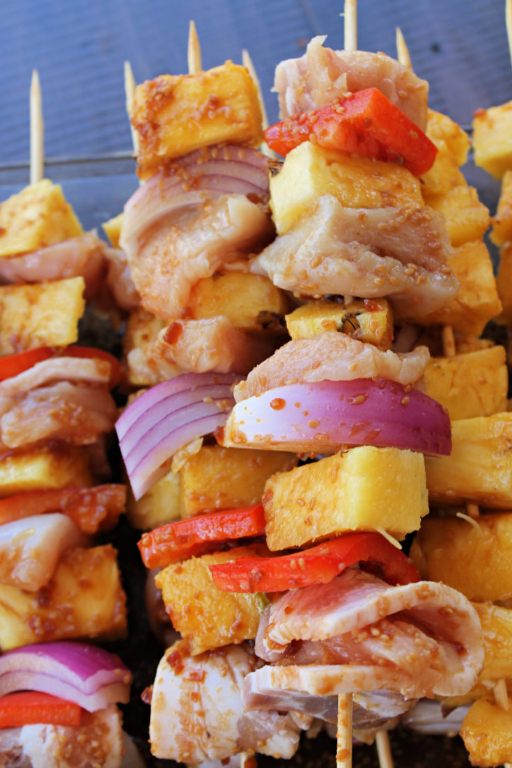 Teriyaki Bacon Wrapped Chicken and Pineapple Kabobs
