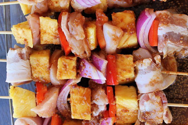 Teriyaki Bacon Wrapped Chicken Kabobs