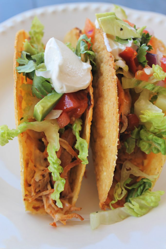 Oven Baked Chicken Tacos with sour cream