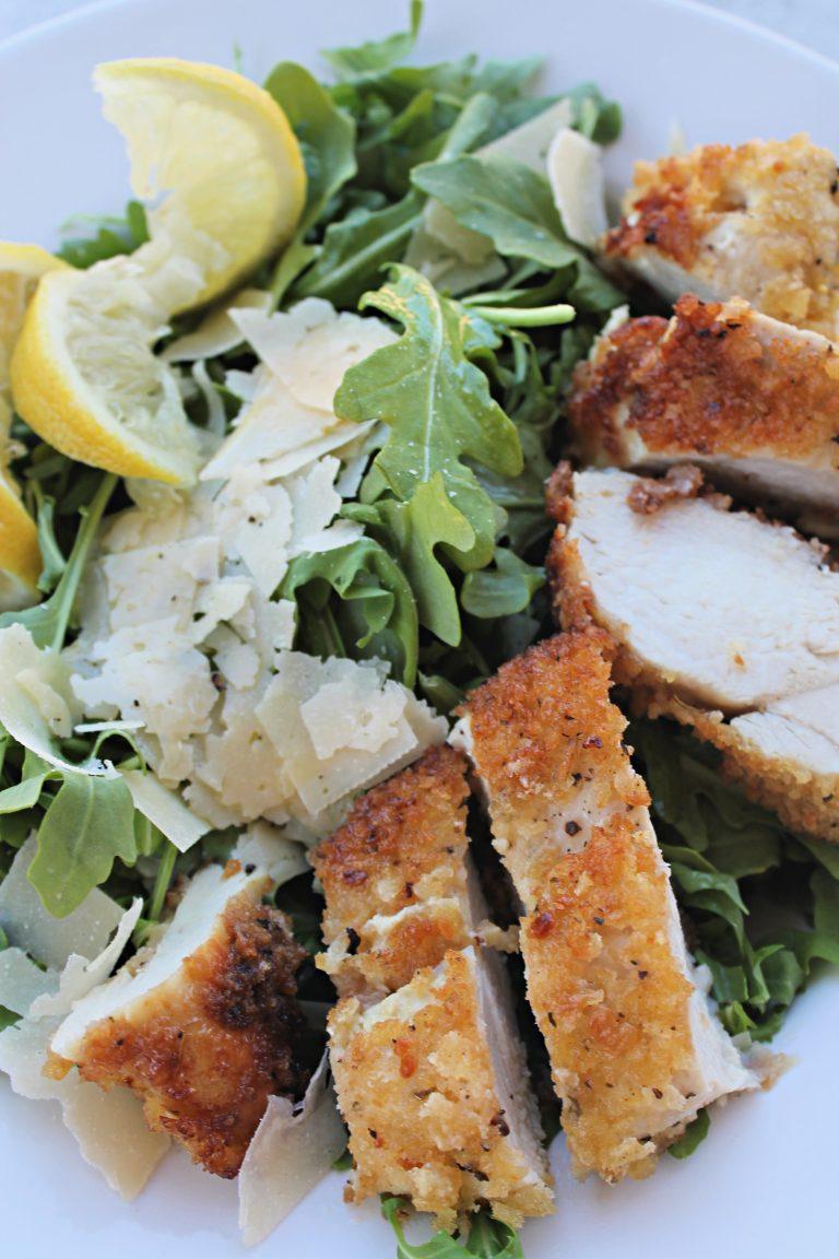 Panko Lemon Chicken with Lemon Arugula Salad