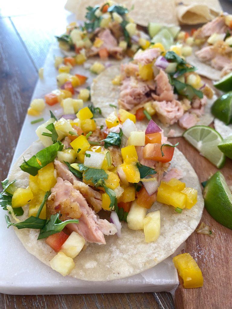 Salmon Tacos with Pineapple Salsa