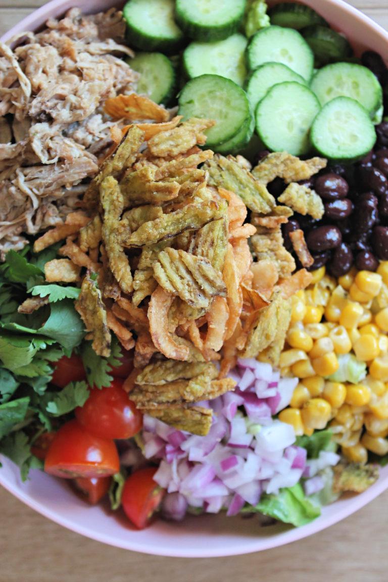 Loaded Chopped BBQ Pulled Pork Salad