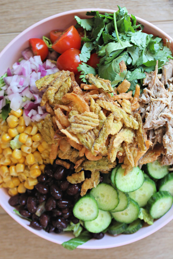 Loaded Chopped BBQ Pulled Pork Salad