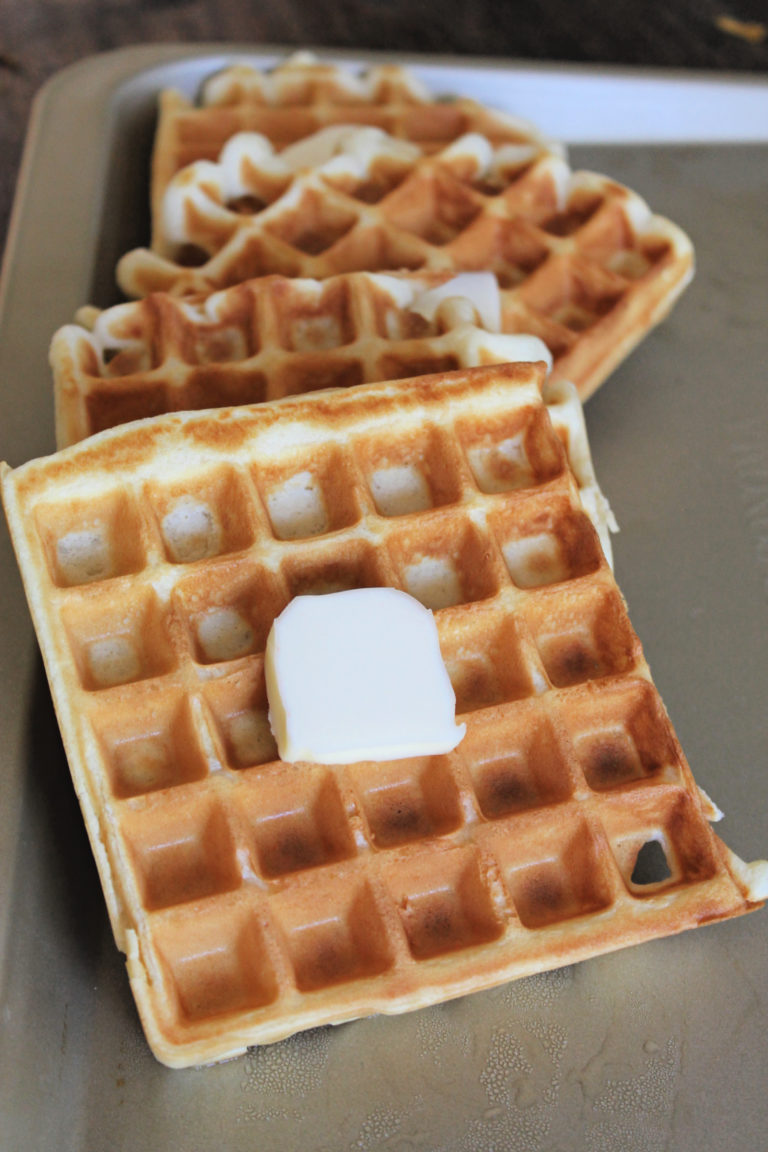 Homemade Waffles with Buttermilk Syrup