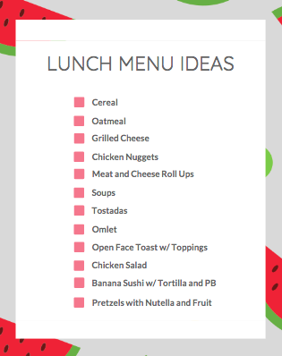 Lunch Menu Ideas {& A FREE DOWNLOAD!}