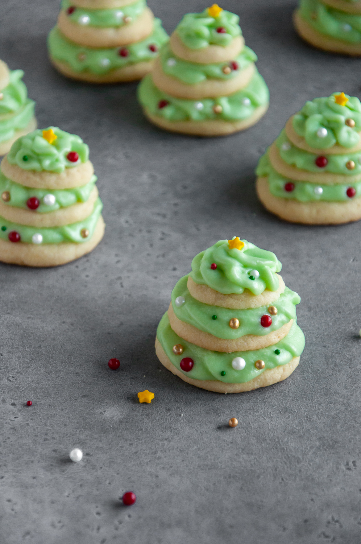 Christmas Tree Stacked Sugar Cookies